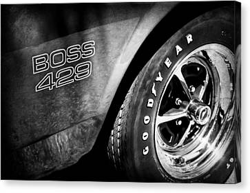 1969 Ford Mustang Boss 429 Sportsroof Side Emblem - Wheel Canvas Print by Jill Reger