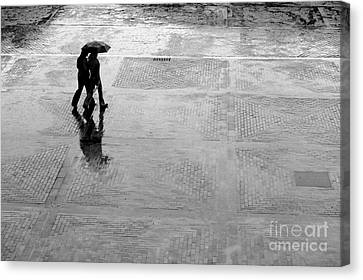 Alone In The Rain Canvas Print by Michal Bednarek