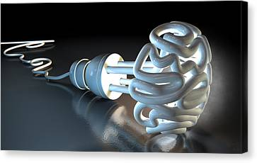Brain Flourescent Light Bulb Canvas Print by Allan Swart