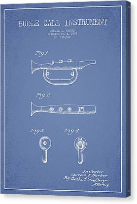 Bugle Call Instrument Patent Drawing From 1939 - Light Blue Canvas Print by Aged Pixel