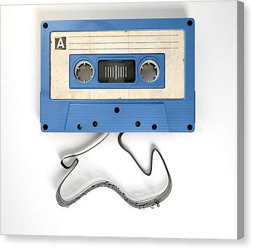 Cassette Tape And Musical Notes Concept Canvas Print by Allan Swart