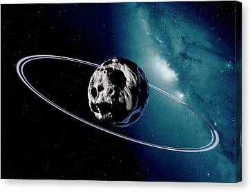 Chariklo Minor Planet And Rings Canvas Print by Detlev Van Ravenswaay
