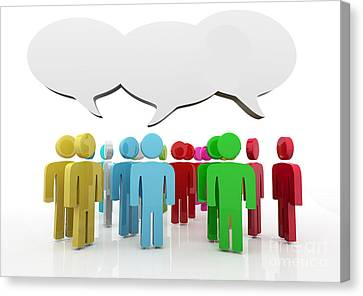 Discussion Blank Speech Bubbles Canvas Print by Michal Bednarek
