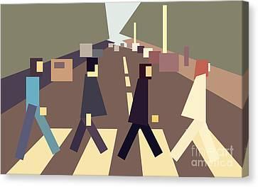 4 Guys Crossing Abbey Road Canvas Print by Igor Kislev