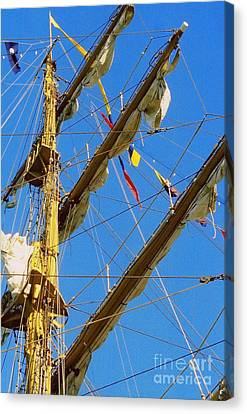 I Thought I Saw Three Sailing Ships Three Sailing Ships Early In The Morn N Canvas Print by Michael Hoard