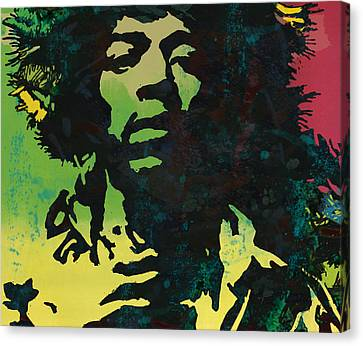 Jimi Hendrix Stylised Pop Art Drawing Potrait Poster Canvas Print by Kim Wang