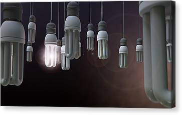 Leadership Hanging Lightbulb Canvas Print by Allan Swart