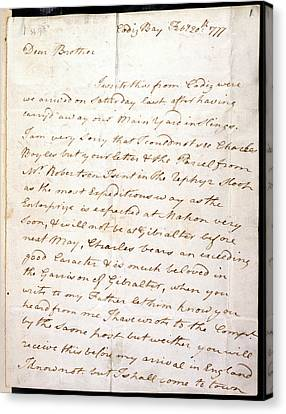 Letter Of Lord Nelson Canvas Print by British Library