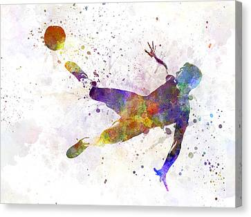 Man Soccer Football Player Flying Kicking Canvas Print by Pablo Romero