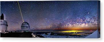Milky Way Over Telescopes On Hawaii Canvas Print by Walter Pacholka, Astropics