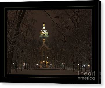 Notre Dame Golden Dome Snow Poster Canvas Print by John Stephens