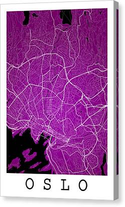 Oslo Street Map - Oslo Norway Road Map Art On Color Canvas Print by Jurq Studio