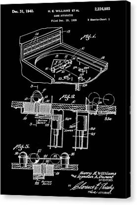 Pinball Machine Patent 1939 - Black Canvas Print by Stephen Younts