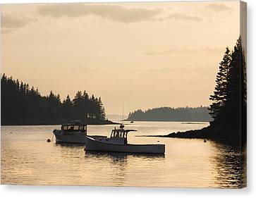 Port Clyde Maine Fishing Boats At Sunset Canvas Print by Keith Webber Jr