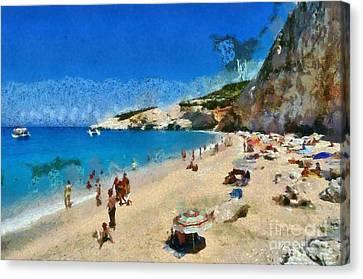 Porto Katsiki Beach In Lefkada Island Canvas Print by George Atsametakis