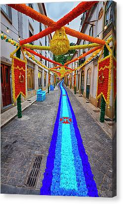 Portugal, Streets Of Tomar Decorated Canvas Print by Terry Eggers