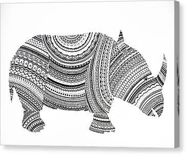 Rhinoceros Canvas Print by Olga Zsuzsanna Petrovits