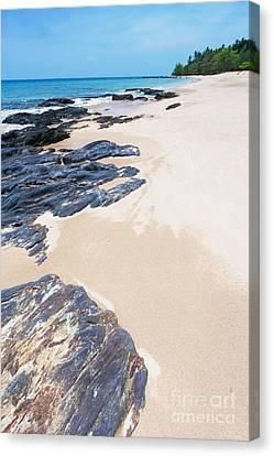 Rock Sand Sea And Sky Canvas Print by Atiketta Sangasaeng