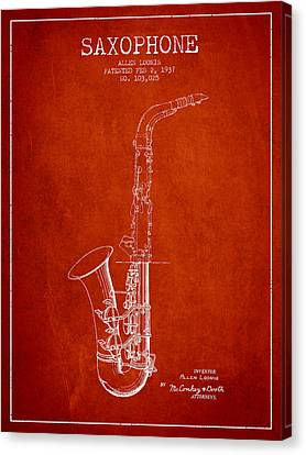 Saxophone Patent Drawing From 1937 - Red Canvas Print by Aged Pixel