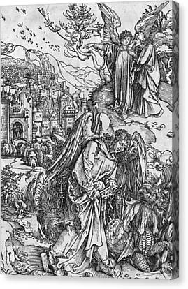 Male Angel Canvas Print featuring the painting Scene From The Apocalypse by Albrecht Durer or Duerer