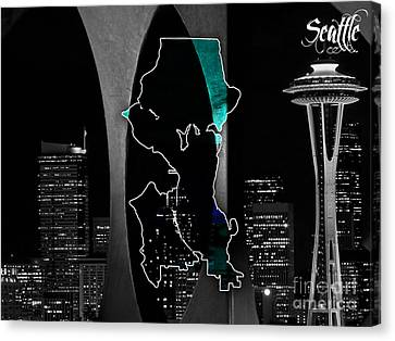 Seattle Map And Skyline Watercolor Canvas Print by Marvin Blaine