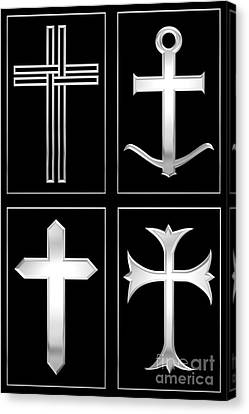 4 Silver Crosses Canvas Print by Rose Santuci-Sofranko