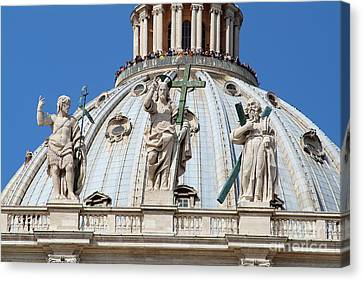 St Peter Dome In Vatican Canvas Print by George Atsametakis