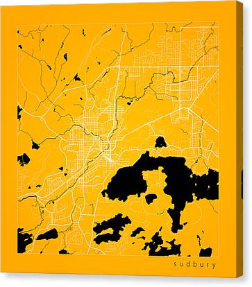 Sudbury Street Map - Sudbury Canada Road Map Art On Color Canvas Print by Jurq Studio