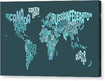 Text Map Of The World Map Canvas Print by Michael Tompsett
