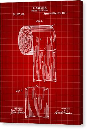 Toilet Paper Roll Patent 1891 - Red Canvas Print by Stephen Younts