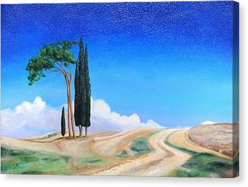 4 Trees, Picenza, Tuscany, 2002 Oil On Canvas Canvas Print by Trevor Neal