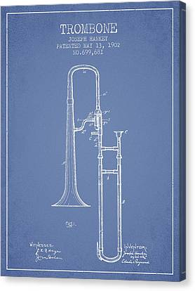 Trombone Patent From 1902 - Light Blue Canvas Print by Aged Pixel
