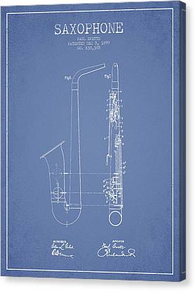 Saxophone Patent Drawing From 1899 - Light Blue Canvas Print by Aged Pixel