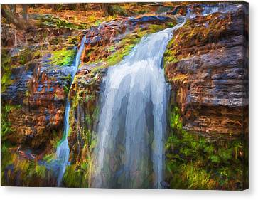 Waterfalls George W Childs National Park Painted    Canvas Print by Rich Franco