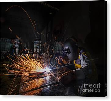 Worker Welding  Canvas Print by Anek Suwannaphoom