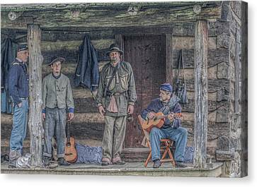 40th Pennsylvania In Camp Entertaining Prisoners Canvas Print by Randy Steele
