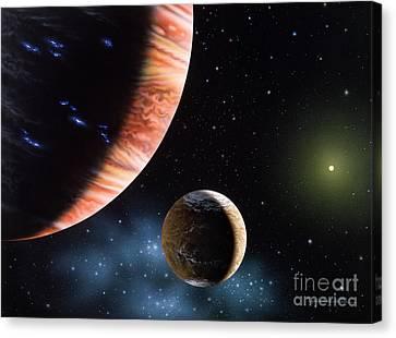 47 Ursae Majoris B And Moon Canvas Print by Lynette Cook