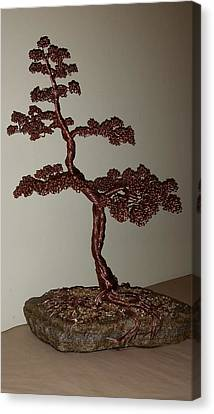 #48 Copper Wire Tree Sculpture On A Rock Canvas Print by Ricks  Tree Art