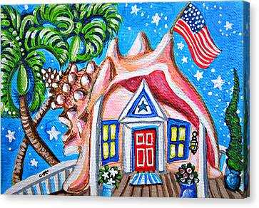 4th Of July Conch House Canvas Print by Abigail White