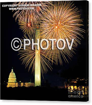 4th Of July Fireworks Over Washington Dc Canvas Print by Hisham Ibrahim