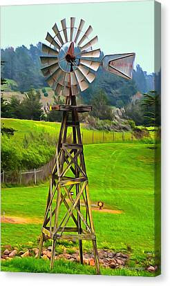 Painting San Simeon Pines Windmill Canvas Print by Barbara Snyder
