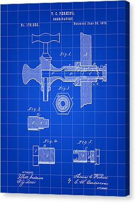 Beer Tap Patent 1876 - Blue Canvas Print by Stephen Younts