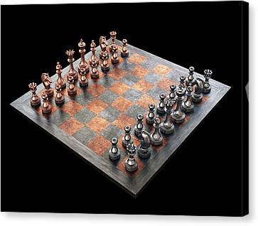 Chess Board And Pieces Canvas Print by Ktsdesign
