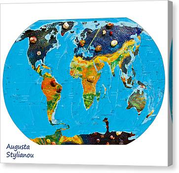 Cyprus And World Map  Canvas Print by Augusta Stylianou