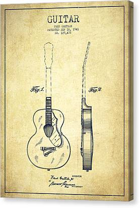 Gretsch Guitar Patent Drawing From 1941 - Vintage Canvas Print by Aged Pixel