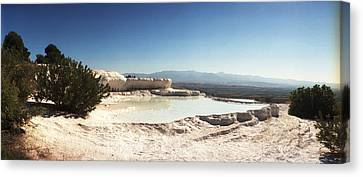 Hot Springs And Travertine Pool Canvas Print by Panoramic Images