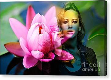 Jennifer Lawrence Canvas Print by Marvin Blaine