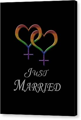 Just Married Lesbian Pride Canvas Print by Tavia Starfire