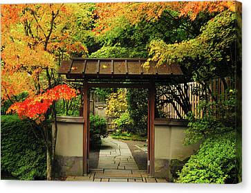 Portland Japanese Garden In Autumn Canvas Print by Michel Hersen
