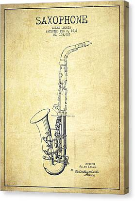 Saxophone Patent Drawing From 1937 - Vintage Canvas Print by Aged Pixel